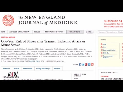 Research Finds Treatment Of 'Mini-Strokes' Lowers Risk For Major Stroke