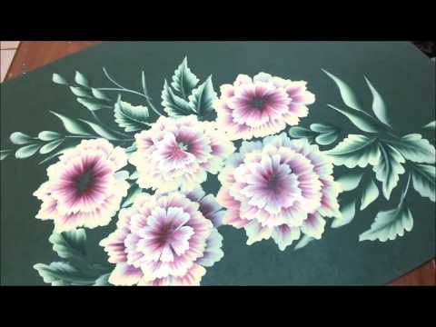 One Stroke Painting- Floral Composition on Chart Paper