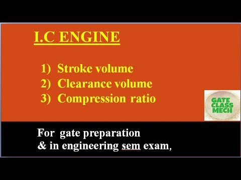 I.C engine, Copmression ratio, clearance ratio, stroke volume, clearance volume by gate class mech
