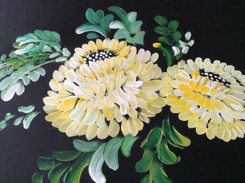 One Stroke Painting- Decorative Flowers using Filbert brush