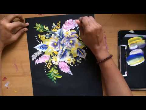 One stroke Painting- Complete Floral Composition With Simple Strokes